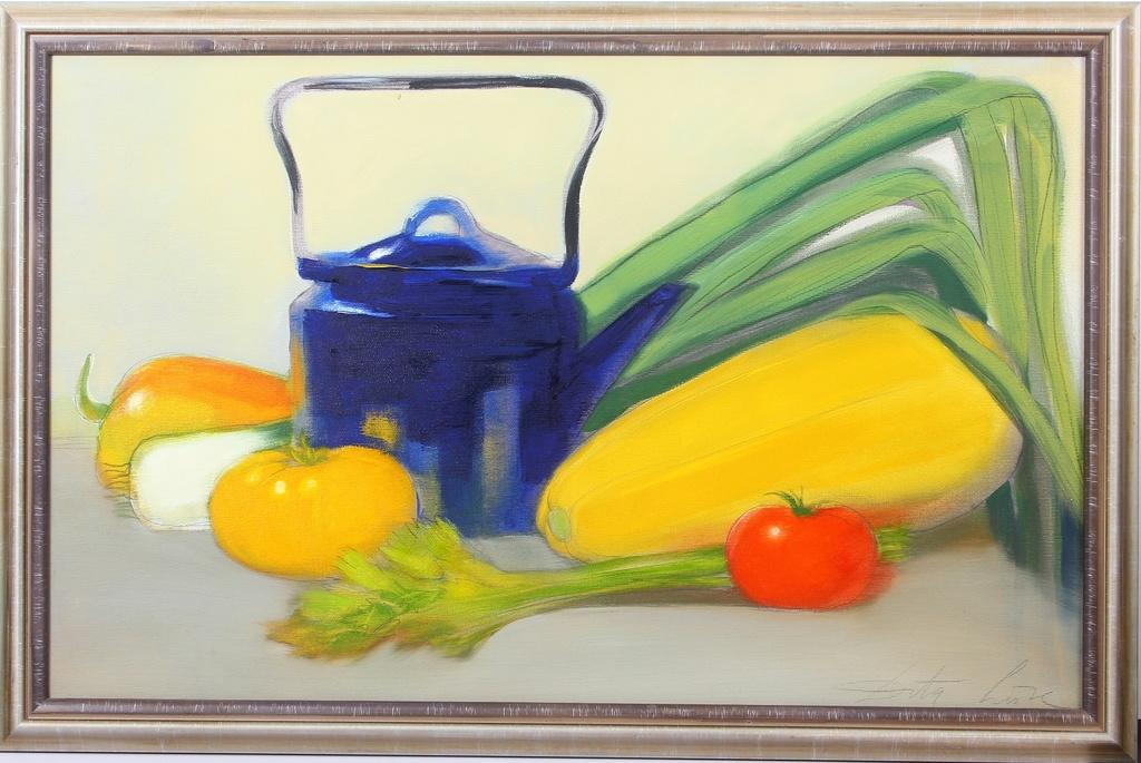 Klusā daba ar kannu un dārzeņiem