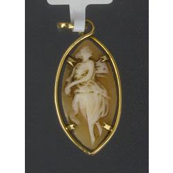 Zelta kulons ar gliemežvāka kameju -grāciju