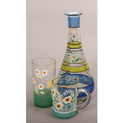 Glass decanter with glass and cup