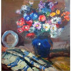 Still life with blue vase and fruits