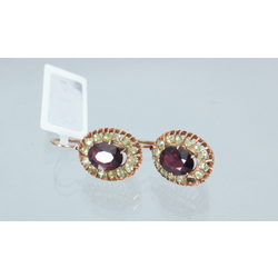 Gold earrings with garnet and demantoids