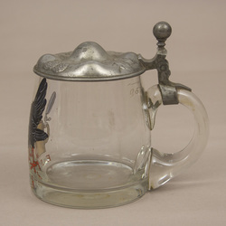 Glass beer cup with metal finish