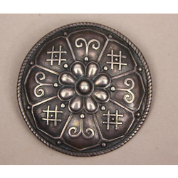 Silver brooch with Latvian signs