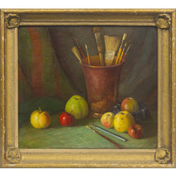 Still life with brushes and fruits