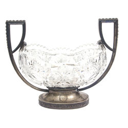 Crystal fruit bowl with silver finish