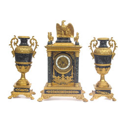 Empire style gold bronze fireplace clock and 2 vases