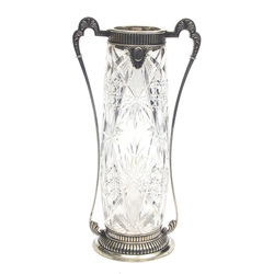 Crystal vase with silver finish
