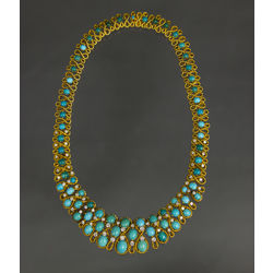 Gold necklace with diamonds and turquoise