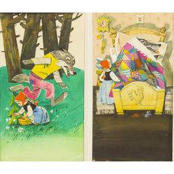 Sarkangalvīte un vilks (2 ilustrācijas)