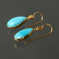 Gold earrings with turquoise and diamonds