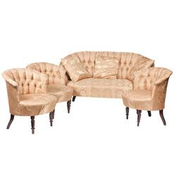 Mēbeļu komplekts - sofa ar 3 krēsliem