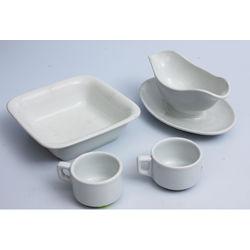 Porcelāna trauku komplekts ar svastiku - 2 krūzes, bļoda un mērces trauks