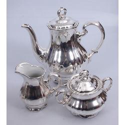 Baroka stila porcelāna kafijas servīze ar sudraba plāksnes pārklājumu - kanna, cukurtrauks, krējuma trauks