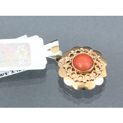 Gold pendant with coral