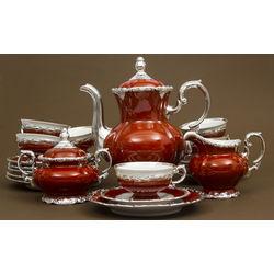 Baroka stila tējas/kafijas porcelāna servīze sešām personām ar sudraba apdari
