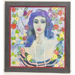 Sievietes portrets ar ziediem