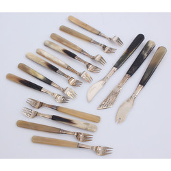 Art deco style Silver dessert set - 12 forks, 3 other serving items