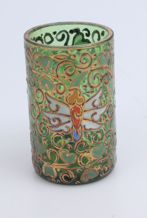 Krāsainā stikla krūzīte ar zeltījumu