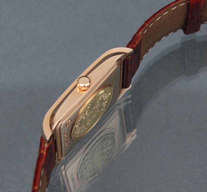 Vīriešu rokaspulkstenis ar zeltu un ādas siksniņu