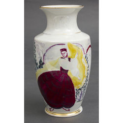 Porcelain vase with a girl in national costume