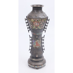 Bronze vase with multicolour enamel