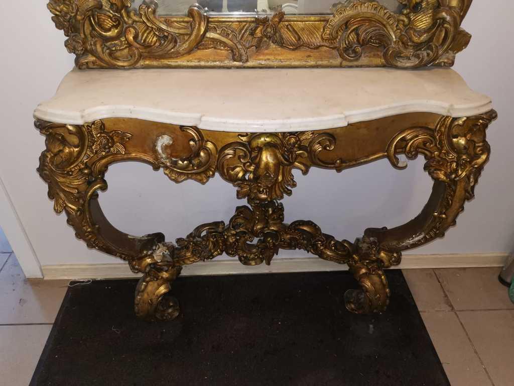 Spogulis ar marmora galdiņu