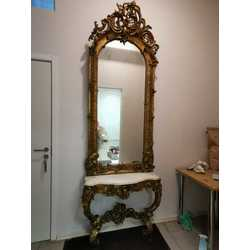 Mirror with marble table