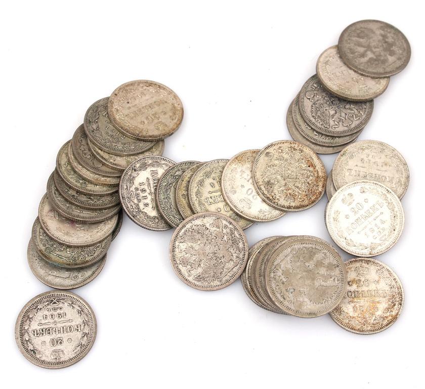 Sudraba 20 kapeiku monētas (40 gab.)
