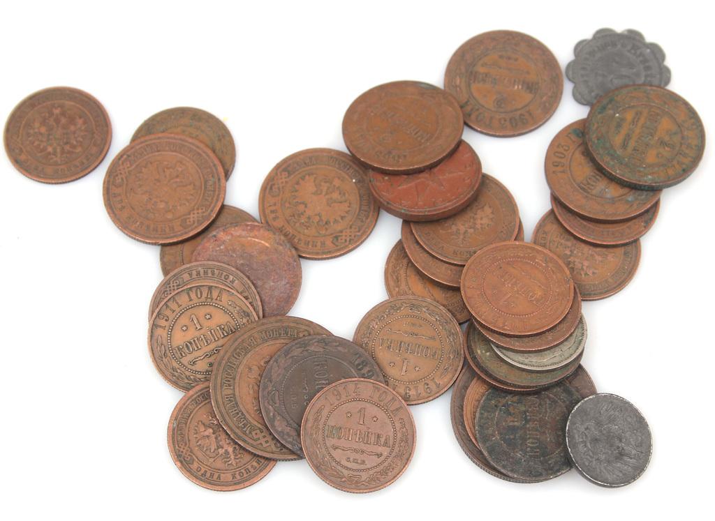Dažādas vara monētas (33 gab.)