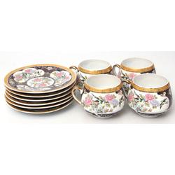 Porcelāna komplekts - 6 apakštasītes, 4 tasītes