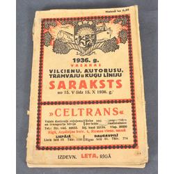 1936.g. vasaras vilcienu, autobusu, tramvaju un kuģu līniju saraksts no 15.V. līdz 15.X. 1936.g.