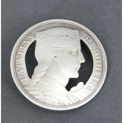 Silver brooch made from 5 lats coin