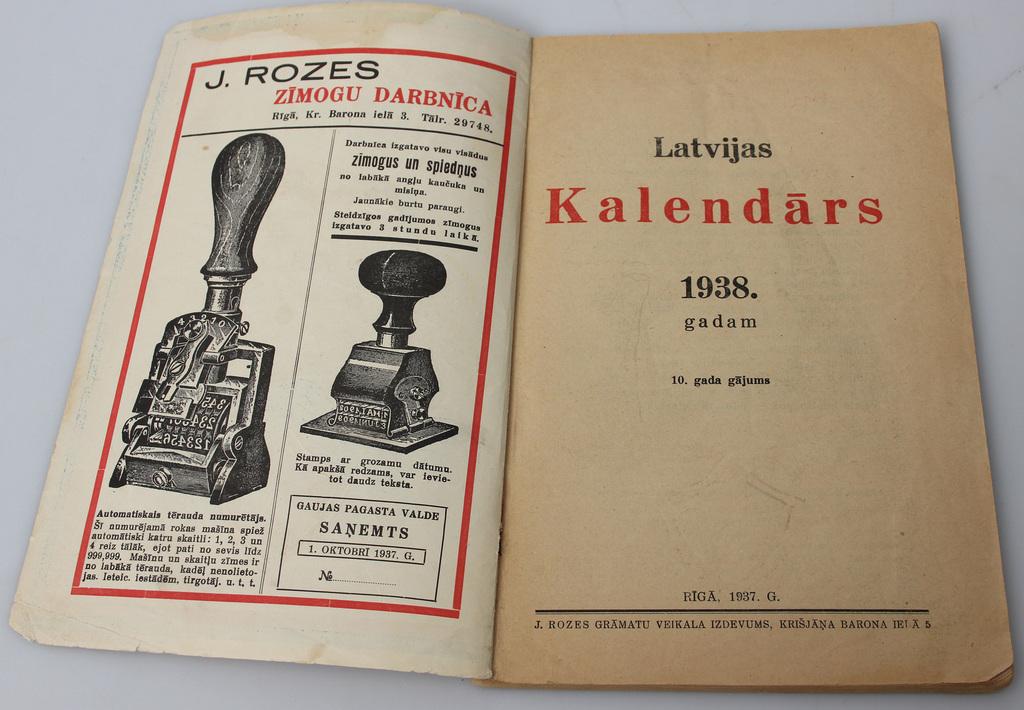 Latvijas kalendārs 1938