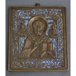 Bronzas ikona ar zilas krāsas emalju