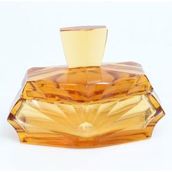 Oranžā stikla trauciņš ar vāku