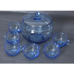 Zilā stikla kompota trauku komplekts - trauks ar vāku un 6 krūzes