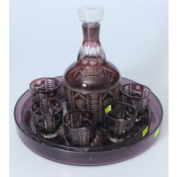 Набор цветного стекла - графин, 2 подноса, 6 стаканов