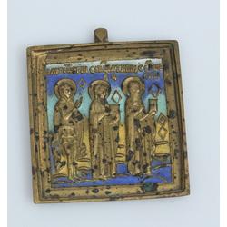 Bronzas ikona ar emalju