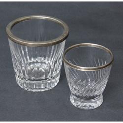 Стеклянная ваза с серебряной отделкой 2 шт.