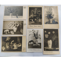 Atklātnes ar porcelāna vāzēm un figūriņām 7 gab.