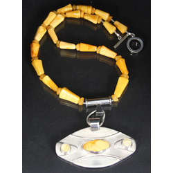 Silver necklace with Baltic Sea amber