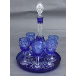 Zilā stikla komplekts - karafe, paplāte un 5 glāzes