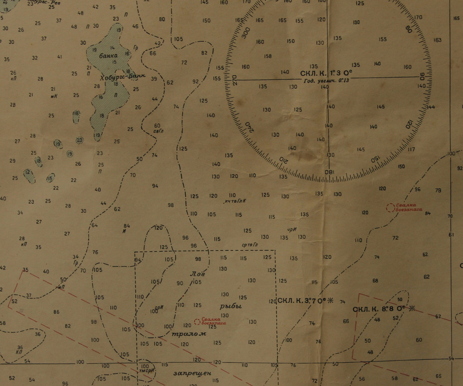 Numurēta jūras karte ar atzīmēm, kur atrodas ķīmiskās vielas