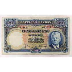 50 latu naudas zīme 1934