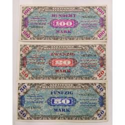 Vācijas markas banknotes 1944 - 20, 50, 100