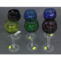 Krāsainā kristāla glāzes 6 gab.
