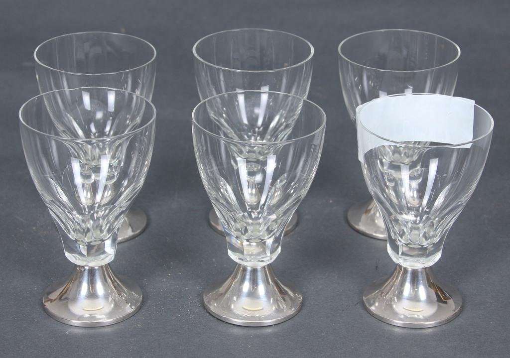 Stikla glāzes ar sudraba apdari (6 gab.)