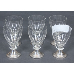 Glass glasses with silver finish (6 pcs)