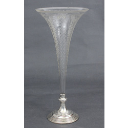 Engraved glass vase with silver finish