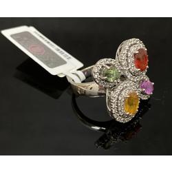 Zelta gredzens ar 4 safīriem un 104 briljantiem